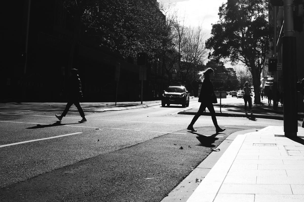 Crossing street silhouette